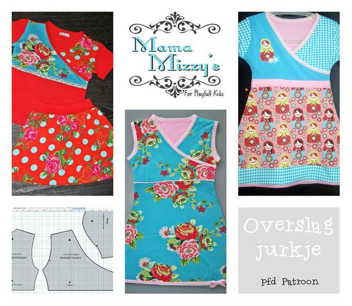 Gratis patroon Mama Mizzy's overslagjurkje mt 128/134