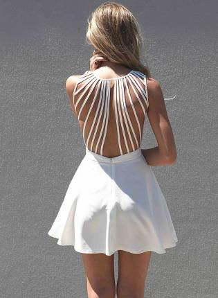White Sleeveless Dress with Lattice Open Back, Dress, open back sleeveless dress, Chic