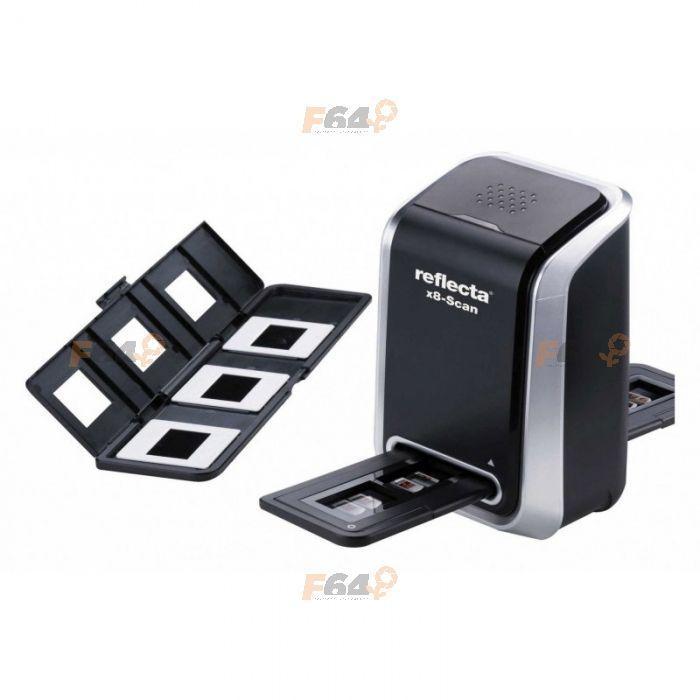<b>Reflecta x8</b> este un scaner de film de 35mm care are la baza un senzor de imagine CMOS cu rezolutie de 1800 dpi (interpolat 3600 dpi) si adancime de culoare de 24 de biti.  Reflecta x8 scaneaza o pozitie de film in 2 secunde si dispune de conectivitate USB 2.0, finnd compatitivil cu calculatoare PC si Mac.