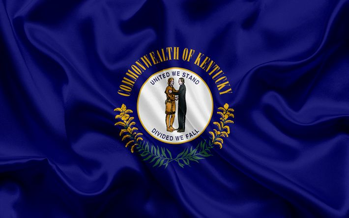 Download wallpapers Kentucky flag, Commonwealth of Kentucky, flags of States of States, USA, blue silk, Kentucky coat of arms