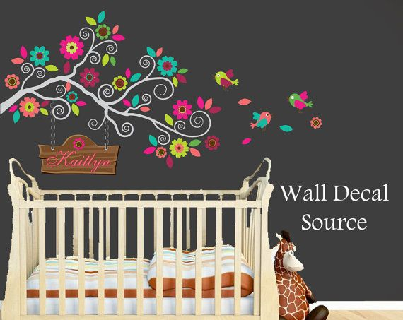 Nursery Wall Decal - Colorful Branch Decal - Monogram Wall Decal on Etsy, $80.00
