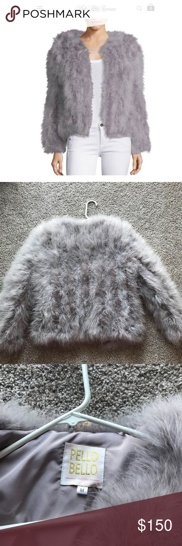 Pello Bello jack fluffy feather fever jacket Grey Ostrich feather jacket. Never been worn!!!  Available to ship immediately! pello bello Jackets & Coats