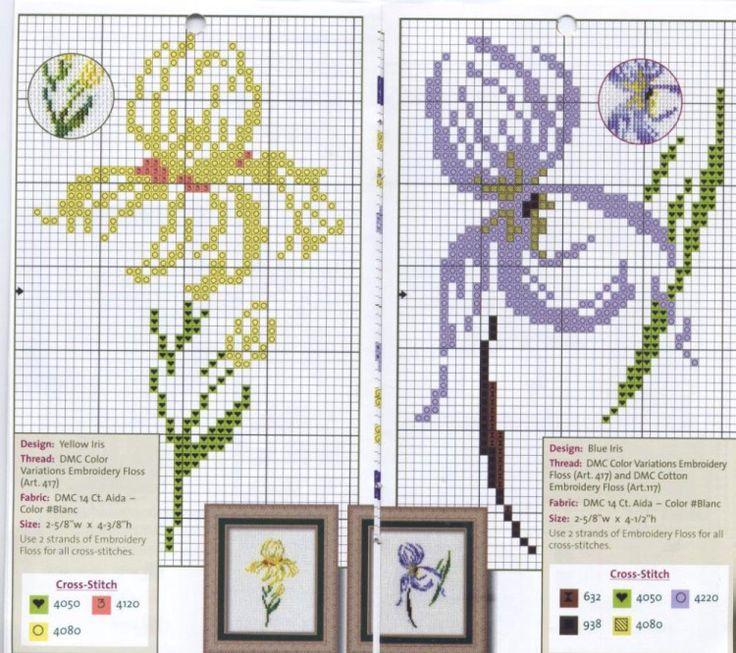 fleur - flower - point de croix - cross stitch - Blog : http://broderiemimie44.canalblog.com/