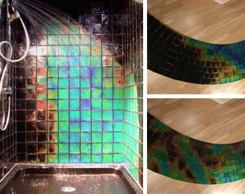 This is awesome and that is all I can say about that.... Heat sensing tiles will turn every shower into an Aurora Borealis of color. Get them here: http://www.movingcolor.net/products_northern.html