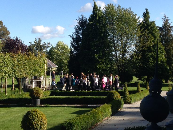 Intimate civil ceremony at the bandstand in the Autumn sunshine in October - another fabulous day at Lemore Manor!