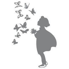 Muurstickers meisjeskamer vlinders met meisje