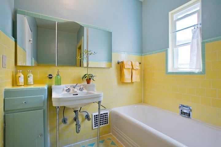 all original vintage 1936 bathroom with yellow subway tile