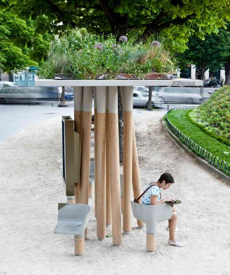 Green-Roofed Shelter is Urban Curbside Lounge for Paris