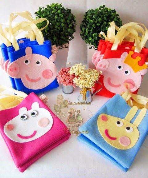 Girassóis Mágicos: Sacolinhas Peppa Pig - Lembrancinha Peppa pig para Aniversário.
