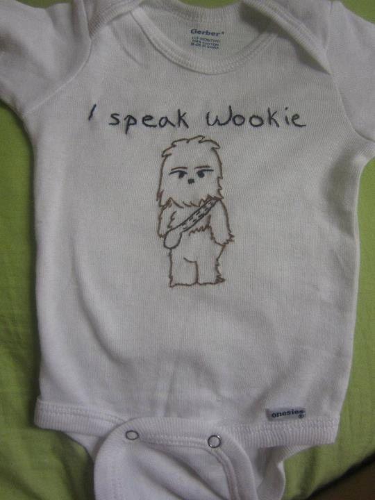 I speak Wookie baby onsie. $15.00, via Etsy.