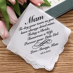 These Personalised Mother of the Bride Handkerchief are a beautiful gift for your mother on the day of your wedding as she might be a little teary eyed watching her little girl walking down the aisle. Personalise the hankie with her name, your name and the date. Available from WowWee.ie: €20.00