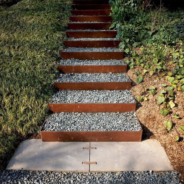 Great, simple outdoor stair idea. Provides drainage, customizability, and low cost (type/availability of steel and fabricator). How are they fastened in place?