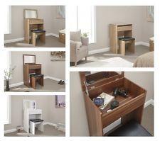 Compact Contemporary Dressing Table Mirror Stool Oak White Espresso Dresser Desk
