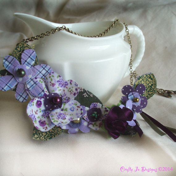 Purple Flower Fabric Necklace by CraftyJoDesigns  https://www.etsy.com/uk/listing/202619258/purple-flower-necklace-cottage-chic?ref=shop_home_active_3