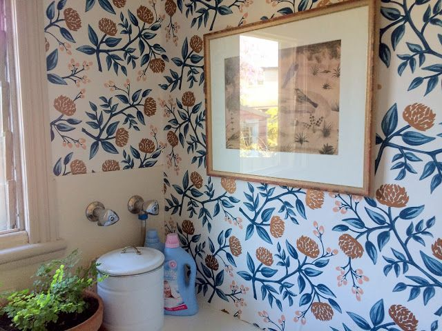 hygge and west wallpaper, laundry