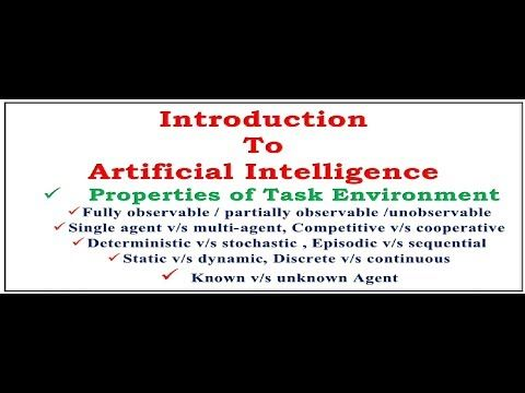 ++++Please Like, Share & Subscribe++++ Introduction to Artificial Intelligence, Defining the Properties of TASK Environment, Fully observable / partially observable / unobservable agent Single agent v/s multi-agent Competitive v/s cooperative agent Deterministic v/s stochastic...