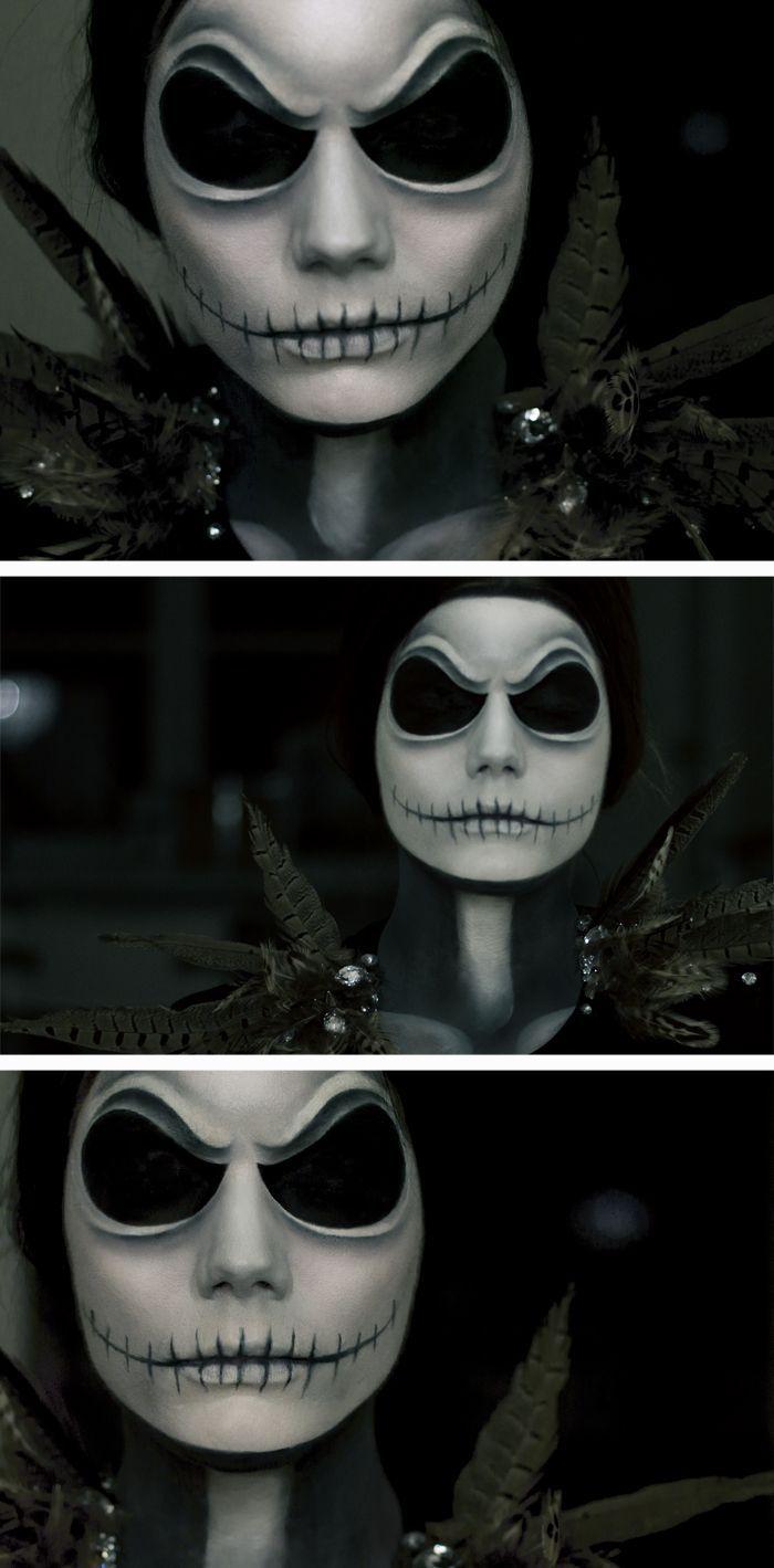 Linda Hallberg Halloween maquillage comme Jack Skellington d'un cauchemar avant Noël. Absolument f * génial