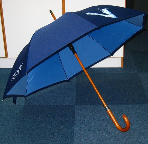 Blue umbrella with wood handle for Vichy
