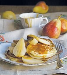American crumpets with salted caramel sauce and poached pears | Food & Home Entertaining