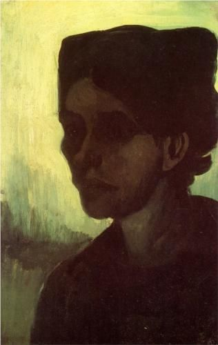 Head of a Young Peasant Woman with Dark Cap - Vincent van Gogh