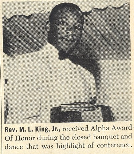 "Dr. MLK Jr, member and Brother of Alpha  Phi Alpha Fraternity, Inc. attends his first general convention (alpha) as a neophyte were he was award the ""Alpha Award of Honor""."