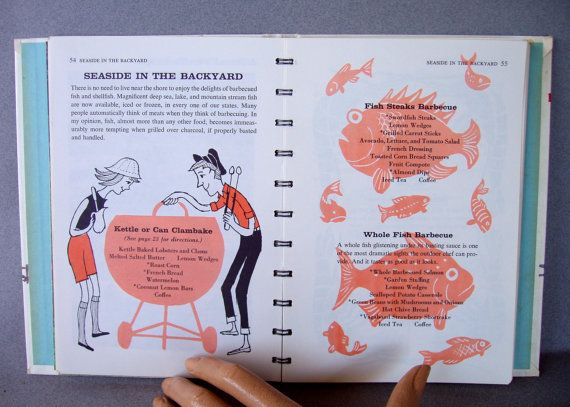 Betty Crockers Outdoor Cook Book    Whimsical mid-century illustrations throughout the cookbook by artist Tom Funk. He was well known for