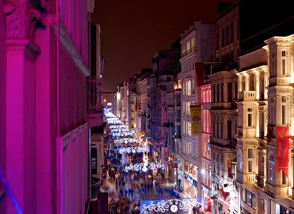 Beautiful shot of Istiklal Caddesi, the most lively street in Istanbul, if not the world.