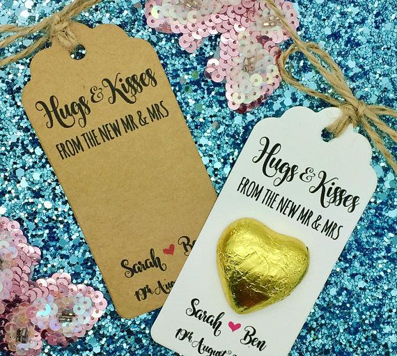 Handmade personalised sweets gift tags with a string (packed separately) The tag size is 9.5cm*4.5cm / 300gsm card The tag will have a 3.5cm gap for you to stick your chocolate favours THE CHOCOLATE HEART IS NOT INCLUDED Personalised with a BRIDE & GROOM NAMES + date the rest will be