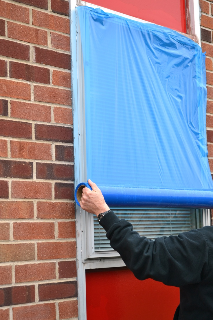 TapeManBlue's Window Protection Tape acts as a barrier of protection for windows against various elements. It protects for up to 60 days with clean removal, leaving no residue behind. It can be used for construction, renovations, interior & exterior painting, door & window manufacturing, plastering, stucco, and brick acid washing. #TapeManBlue