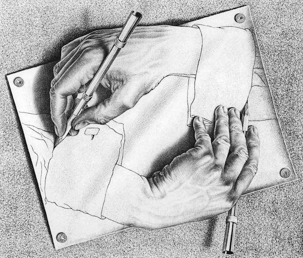M.C. Escher, Drawing Hands, 1948, lithograph © 2014 The M.C. Escher Company- The Netherlands