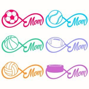 Infinity Sports Mom with Soccer, Baseball, Basketball, Football, Volleybal and Ice Hockey Cuttable Design Cut File. Vector, Clipart, Digital Scrapbooking Download, Available in JPEG, PDF, EPS, DXF and SVG. Works with Cricut, Design Space, Sure Cuts A Lot, Make the Cut!, Inkscape, CorelDraw, Adobe Illustrator, Silhouette Cameo, Brother ScanNCut and other compatible software.