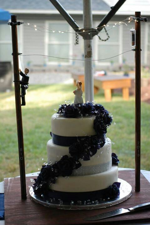 Lineman inspired wedding cake!