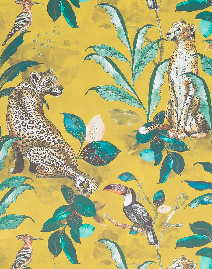 """Overview Savannah is the beautiful new wallpaper collection from Laura Hyden. Featuring an intricate hand painted cheetah and leopard set amongst a bold jungle backdrop on mustard. Measurements• Each roll is 20.5"""" wide x 11 yards long• Repeat: 20.5"""" Additional Notes • Printed to order, 2-3 week lead time. • Non woven paste the wall wallpaper• Designed and made in the UK Color Description Multi-colored illustration on mustard background Additional Info Read more about the Graduate Collection… Cheetah Wallpaper, Mustard Wallpaper, Tier Wallpaper, Animal Print Wallpaper, Fabric Wallpaper, Wall Wallpaper, Pattern Wallpaper, Wildlife Wallpaper, Funky Wallpaper"""