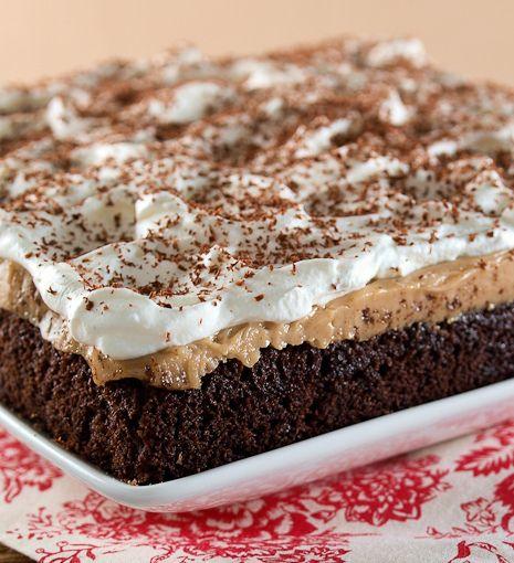 Chocolate Peanut Butter Pudding Poke Cake