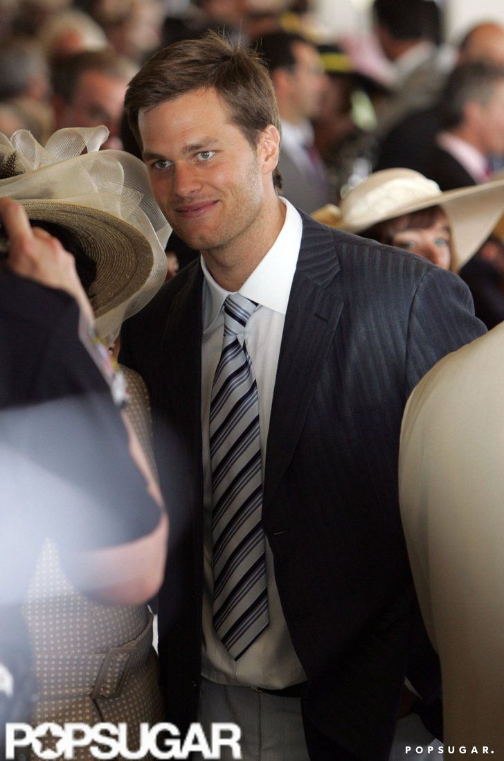 Pin for Later: Hats, Horses, and High Stakes — Stars at the Kentucky Derby!  Tom Brady was on hand in 2008 to watch the horse races.