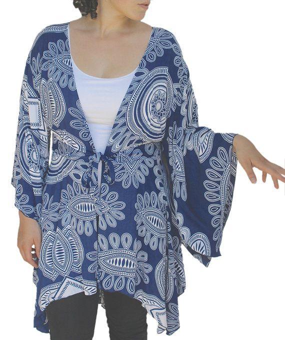 Women's Plus Size Tunic Cardigan | Lagenlook Plus Size |  Kimono Sleeve, One Size (1X-3X) for