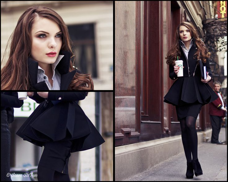 Spring Coat.   Black neoprene Biker jacket top with a pleated short skirt to make a beautiful spring coat.