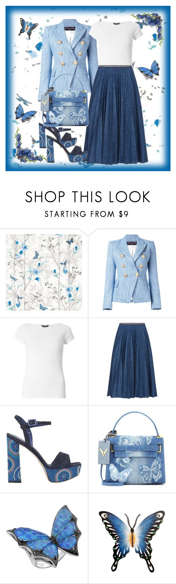 """""""dream in blue"""" by francymayoli ❤ liked on Polyvore featuring Balmain, Dorothy Perkins, Leur Logette, Le Silla, Valentino, Stephen Webster and NOVICA"""