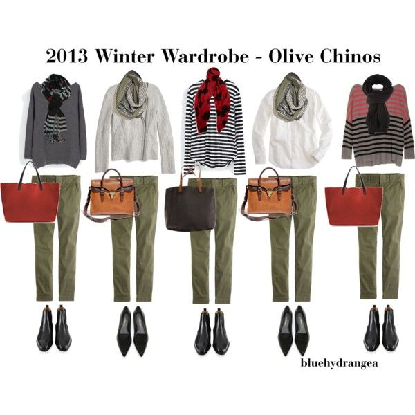 Winter Wardrobe - Olive Chinos by bluehydrangea on Polyvore featuring polyvore, fashion, style, Zara, Line, J.Crew, Madewell, Magnanni, 3.1 Phillip Lim and BeckSöndergaard
