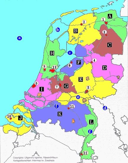 TopoSite (topo leren door oefenen): Topografie Nederland provincies & hoofdsteden ~ zeeën, meren & rivieren