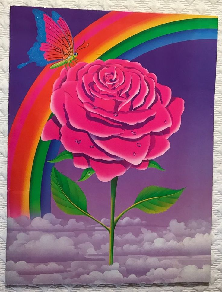 Lisa Frank Folder Rose Rainbow Butterfly Clouds Vintage 1989 Fantastic World  | eBay