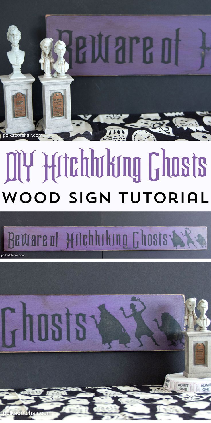 """How to make your own Wood Halloween Sign; A cute """"Beware of Hitchhiking Ghosts""""…"""