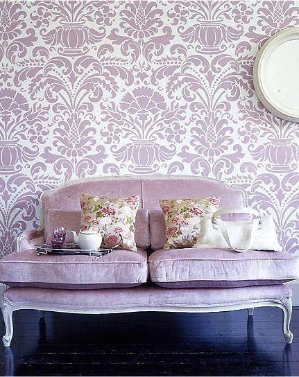 Lavender damask wallpaper and lavender velvet loveseat