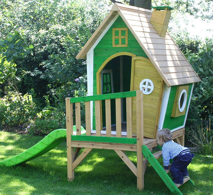 Crooked playhouse with slide woodworking projects plans for Crooked house plans