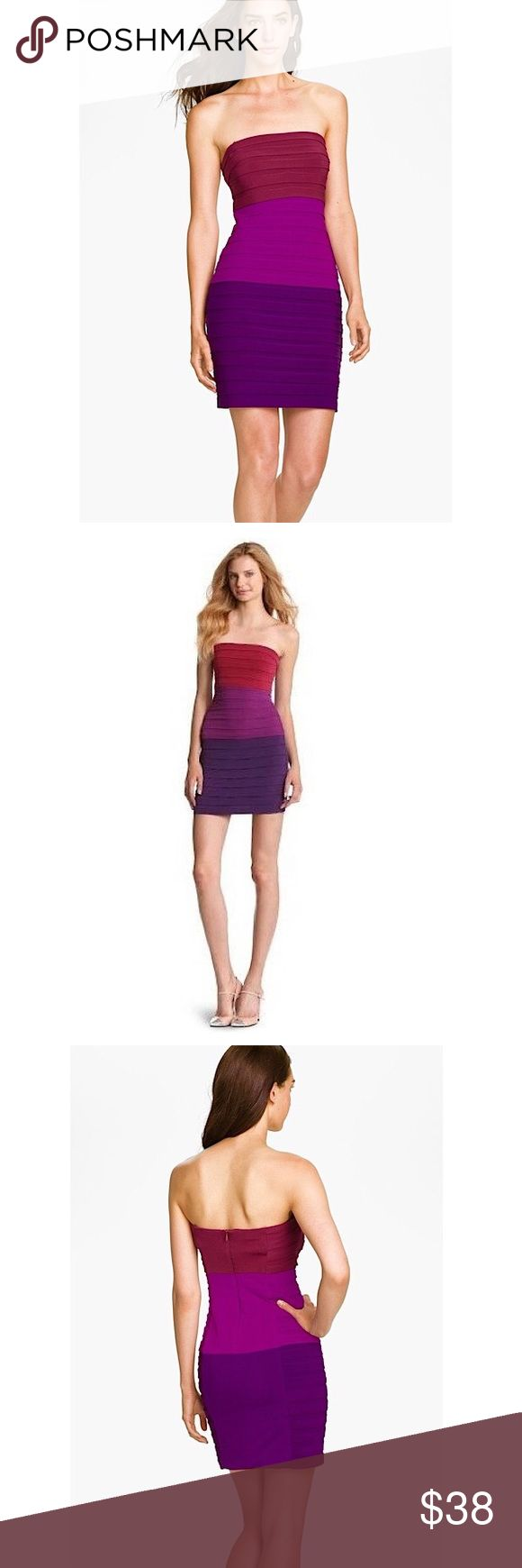 MAX AND CLEO Suzy bodycon banded strapless dress MAX AND CLEO Suzy bodycon banded strapless dress in color blocks of purple/burgundy.  Hidden back zip closure Fully lined Polyester/spandex Machine wash (dry clean recommended) Has supporting bones up the sides on the inside A fitted, sexy, feminine piece! Only worn once, like new, tiny snag under left armpit as shown in photo (smaller than my fingernail). Not visible at all. Max and Cleo Dresses Strapless