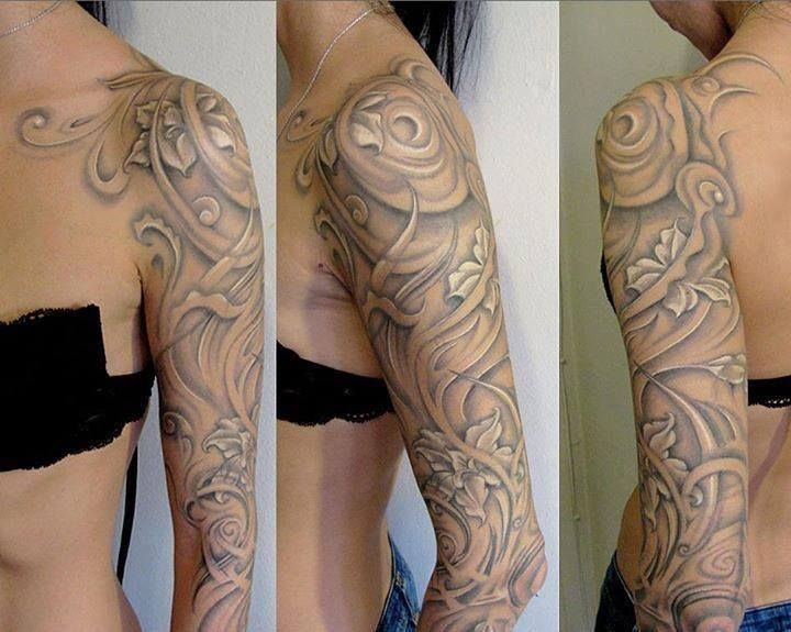GORGEOUS! dont like a sleve, but love how the grey and white blends with the skin-tone and is more elegant than a harsh black tattoo