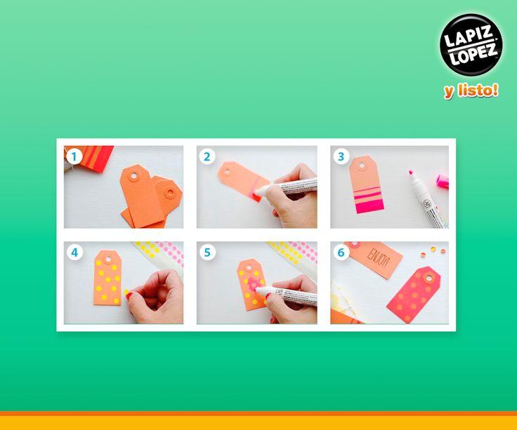 Sigue el paso a paso de la imagen y crea estas entretenidas etiquetas para adornar tus regalos.