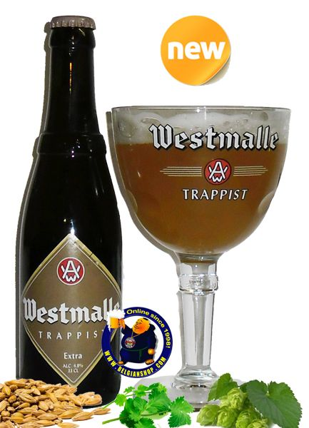 Our new Very RARE Beer: Westmalle Extra 4.8° Westmalle Extra reserved for the monks and guests of the Abbey. Westmalle Extra is not commercially available outside the Abbey. Hazy golden, slighter lighter colour than the tripel. Durable, lacing white head. Aroma is moderate hoppy, grapefruit, moderate yeasty. Flavor is moderate sweet and bitter with a average to long duration. ... Available at:http://store.belgianshop.com/trappist-beers/1498-westmalle-extra-blond-48-13l.html