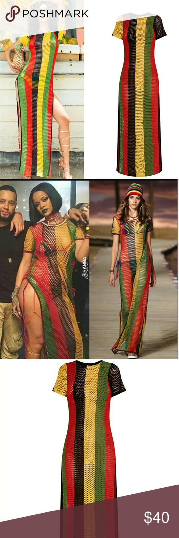Rasta Colors of Africa side split knitted maxi Just like the one Worn by Rihanna One size Fits s-xl  Length depends on your height. Can be anywhere from mid calf to ankle. Dresses Maxi
