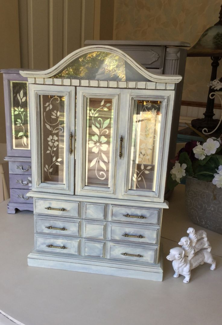 Wooden Vintage Jewelry Box // Painted Jewelry Armoire // OOAK Jewelry Box // Shabby Chic Jewelry Armoire with Light by ByeByBirdieDesigns on Etsy https://www.etsy.com/listing/479589870/wooden-vintage-jewelry-box-painted